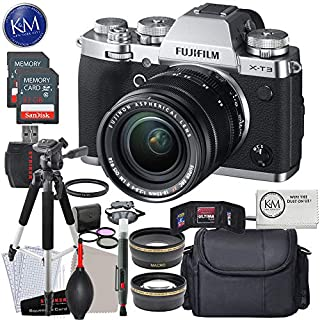 FUJIFILM X-T3 Mirrorless Digital Camera with 18-55mm Lens (Silver) w/Deluxe Striker Kit