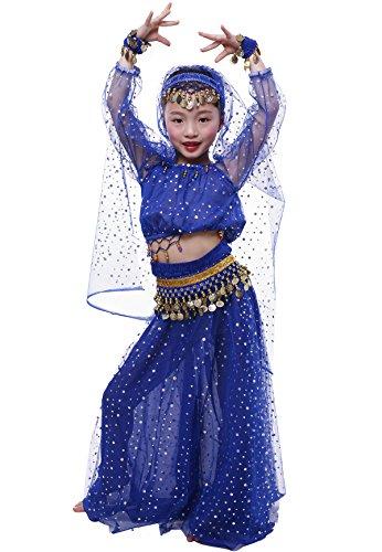 Astage Girl`sElegant Belly Dance Set Golden Waist Chain Dark Blue -