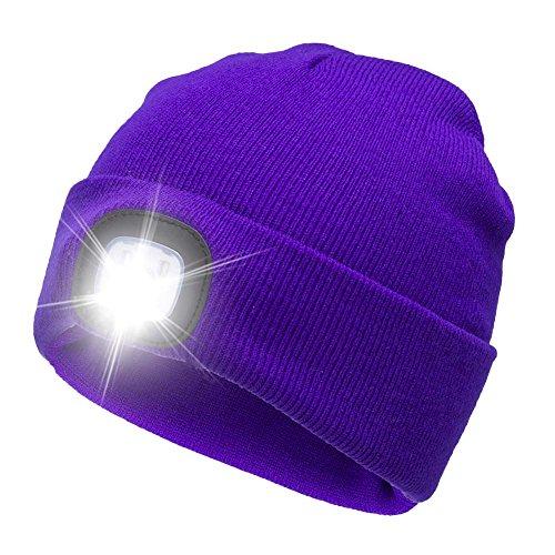 Ultra Bright LED Unisex Lighted Beanie Cap/Winter Warm hat (USB charging) (purple)