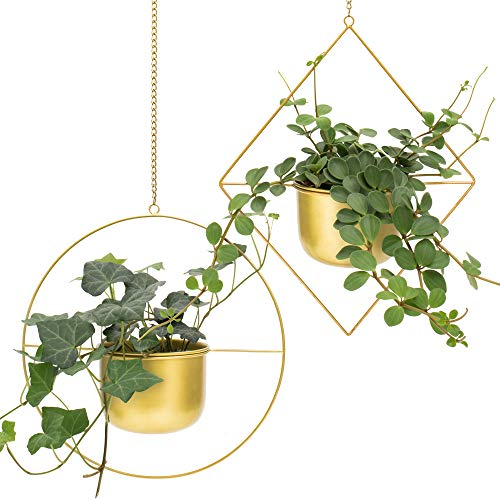 (Set 2 Brass Gold Geometric Metal Hanging Plant Pot | Decorative Flower Pot Holder with Planter | Mid Century Cactus and Succulent Planter | Living Room Decor | Gold Party & Wall Decoration | Indoor)