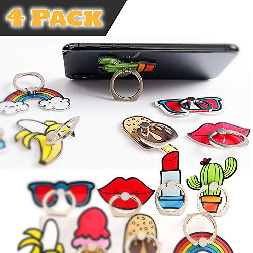 ClipGrip Phone Ring Holder 4 Pack | 360 Rotation Finger Ring Grip Stand for Cellphones,Smartphones and Tablets | { Sunglass, Lipstick, Rainbow & Kiss}