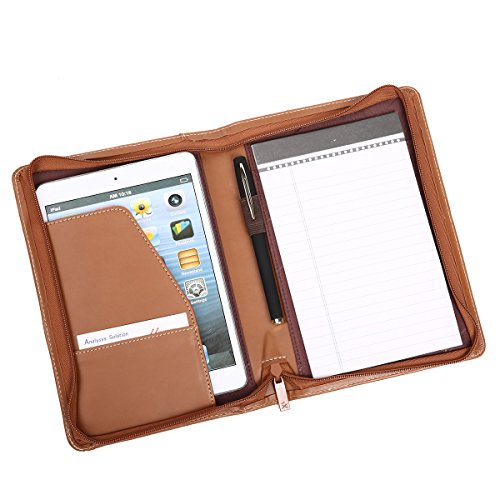 Leather File Folder Padfolio Writing Pad Leather Business Presentation Folder Portfolio (Brown-A5-2) (A5 Portfolio)