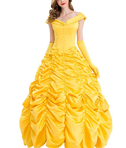 Lava-ring Women's Beauty and Beast Belle Cosplay Princess Dress Gold Party Dress -