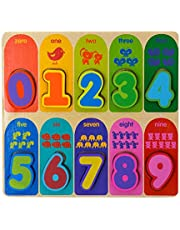 Jacootoys Number Wooden Chunky Puzzle Preschool Early Educational Toys for Toddlers Kids 10 Pieces