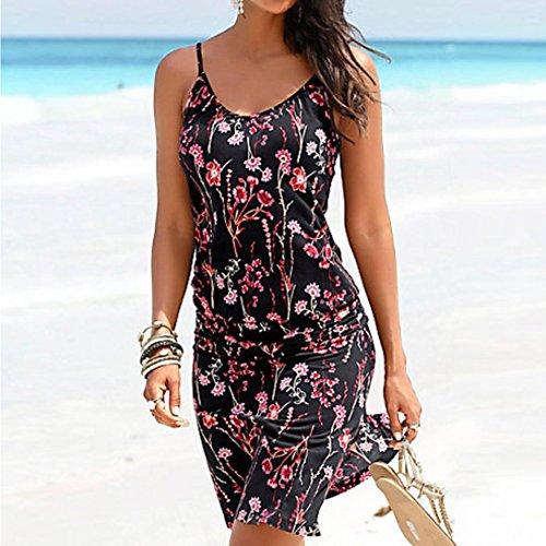 Boho Noir Mini Beachwear Femmes Imprimer Guesspower Manches Neck 36 Ete Sundress XL Noir Casual Sexy sans 42 Chic Robe Femmes S Plage Halter nYBYq6zwZ