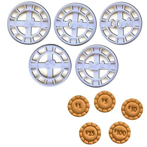 Set of 5 Poker Chip Cookie Cutters, 5 pcs, Ideal for casino themed party