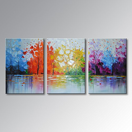 Everfun Art Huge Hand-painted Large Oil Painting 3 Pieces Modern Abstract Wall Art Hanging Lake Scenery Landscape Canvas Picture Framed Ready to Hang 72''W x 36''H by EVERFUN ART