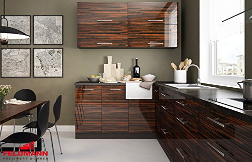 L Form Küchenzeile Küche 921900 Komplett Lava Ebenholz Hochglanz