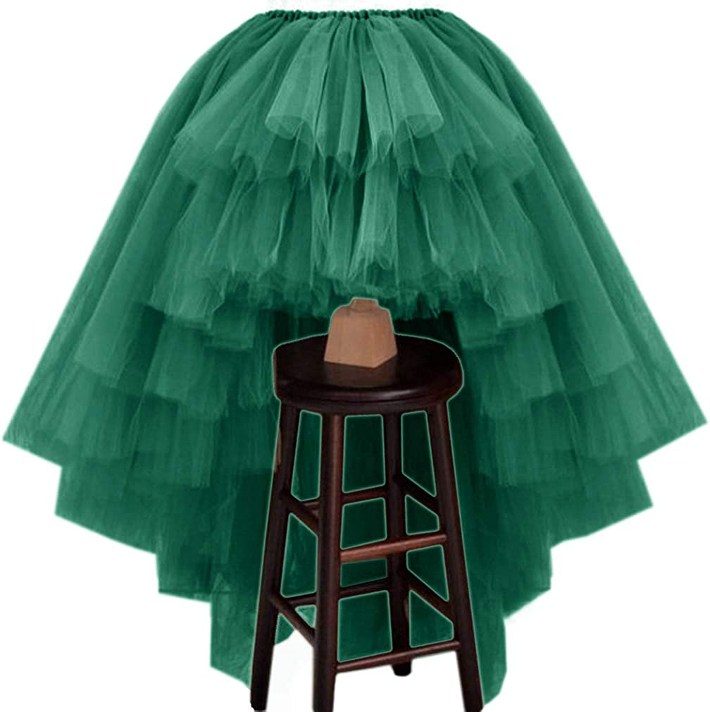 WDPL Women's Puffy Wedding High Low Layered Tulle Asymmetrical Night Out Skirt