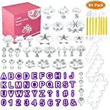 Wisfox Fondant Tools Set 84 Pcs Cake Decorating Tools Fondant Cutters Tools Rose Flower Alphanumeric Characters Moulds Set for Fondant, Almond Sugar, Syrup Biscuits, Chocolate