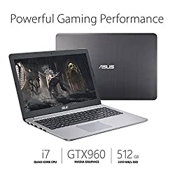 ASUS Premium 15.6 Inch Full HD 1080P Gaming Laptop, Intel Core i7-6500U, 8GB DDR4 RAM, 512GB SSD, NVIDIA GeForce GTX 960M 2GB, HDMI, Bluetooth, 802.11ac, Webcam, Backlit Keyboard, No DVD, Win10