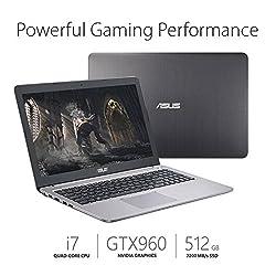ASUS Premium 15.6 Inch Full HD 1080P Gaming Laptop, Intel Core i7-6500U, 8GB DDR4 RAM, 512GB SSD, NVIDIA GeForce GTX 960M 2GB, HDMI, Bluetooth, 802.11ac, Webcam, Backlit Keyboard, No DVD, Win10