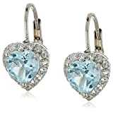 Sterling Silver Blue Topaz Heart Shape Earrings
