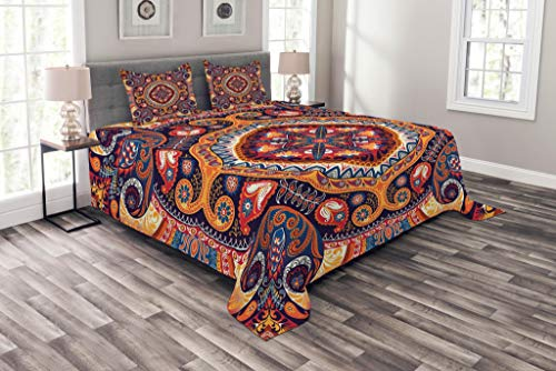 Paisley Bedspread, Style Ornamental Rug Pattern Inspired Design with Flowers and Leaves, Decorative Quilted 3 Piece Coverlet Set with 2 Pillow Shams, King Size, Pale Orange