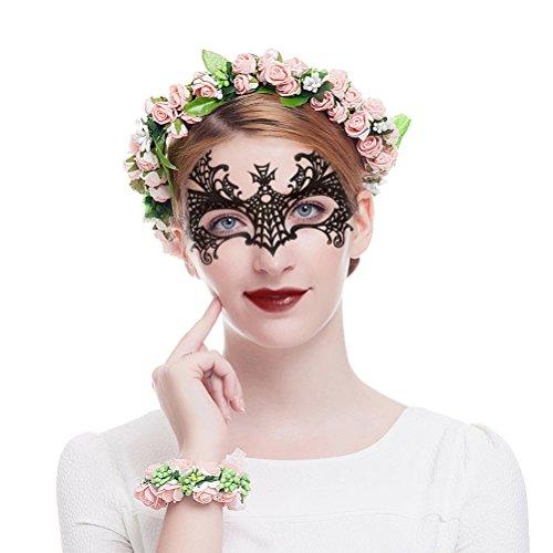 Valdler Flower Wreath Headband Floral Crown Garland Halo with Floral Wrist Band for Wedding Festivals, (Floral Crown Diy)