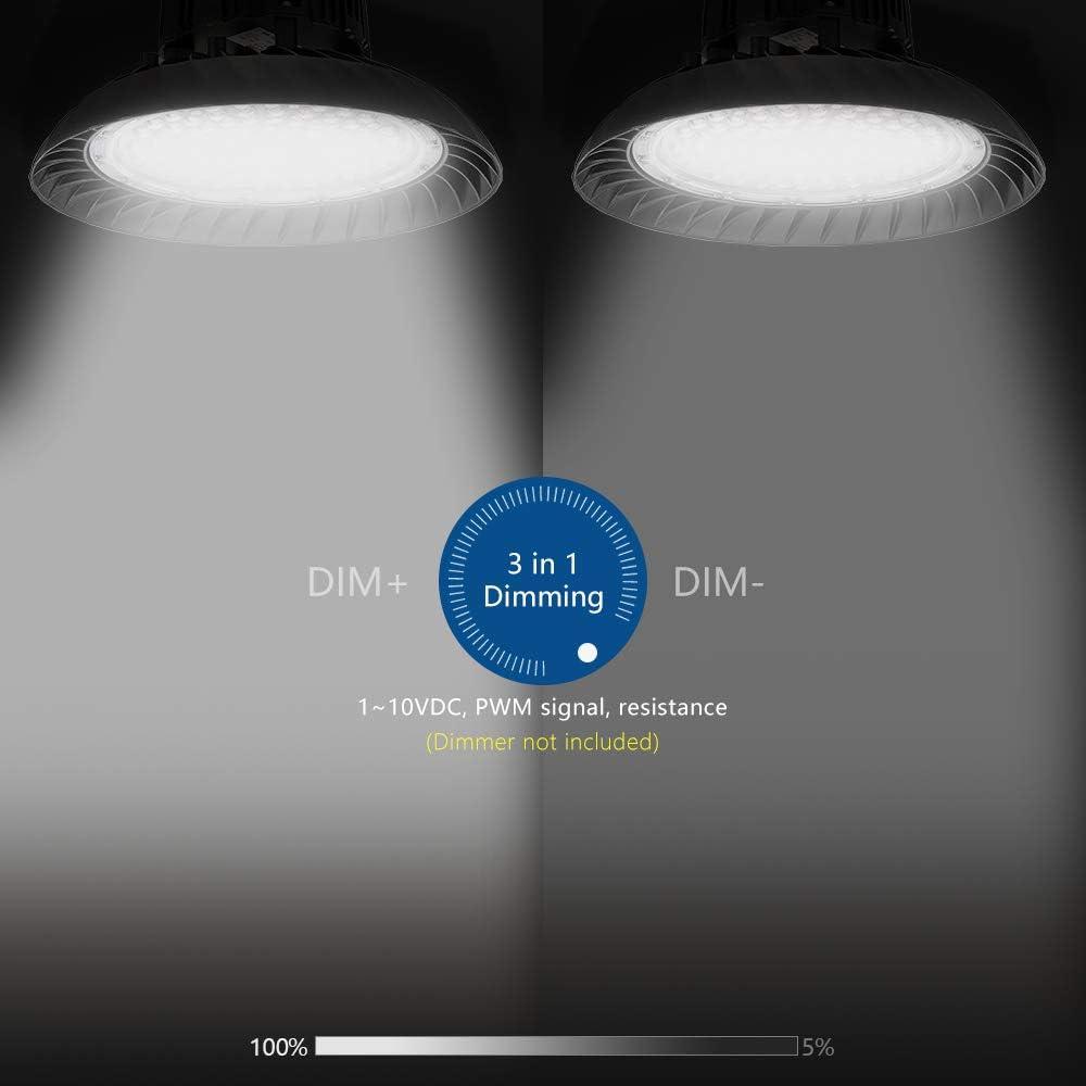 Industriebeleuchtung geeignet f/ür Fabrik Lager 3 in 1 blendfreies Hallenlicht wasserdichte Hallenleuchte mit Schutzklasse IP65 Garage Anten Dimmbar LED Hallenstrahler 150W Wei/ß Einkaufszentrum