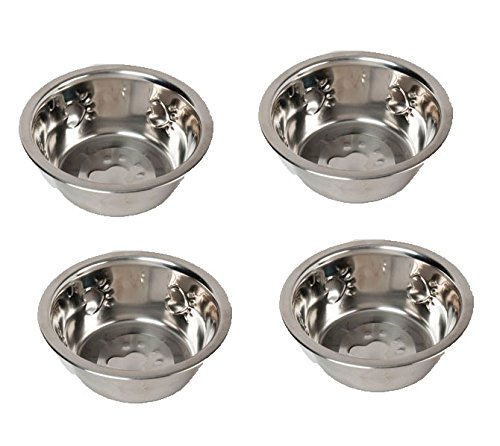 Set of 4 Paw Print Design 32oz Metal Dog Bowls for Food and Water
