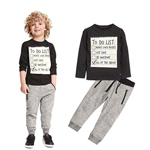 Clearance Kids Toddler Boy Fashion Winter Clothes Set Letter Print Long Sleeve Shirts Pants Outfit (Black, 3T)