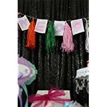 TRLYC 4Ft*7Ft Sparkly Black Party Photo Booth Backdrop Wedding Sequin Backdrop Fabric