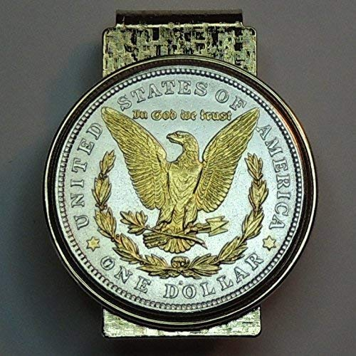 U.S. Morgan silver dollar eagle - - Gorgeously 2-Toned (Uniquely Hand done) Gold on Silver coin Hinged money clip for men for dad Christmas groomsmen birthday for him for women