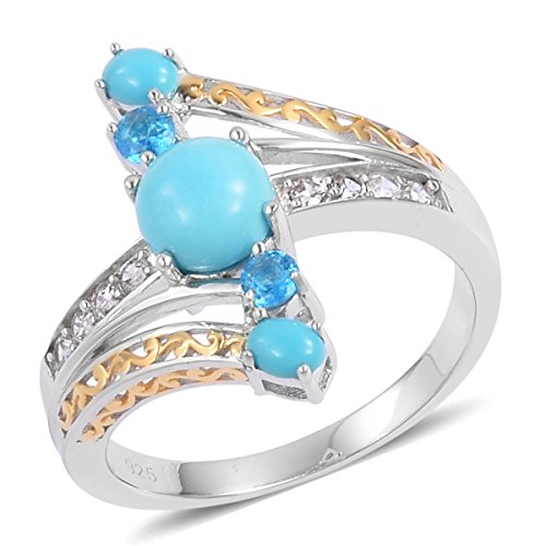 Silver 14K Yellow Gold and Platinum Plated Round Sleeping Beauty Turquoise, Multi Gemstone Ring Size 10 14k Yellow Gold Turquoise Ring