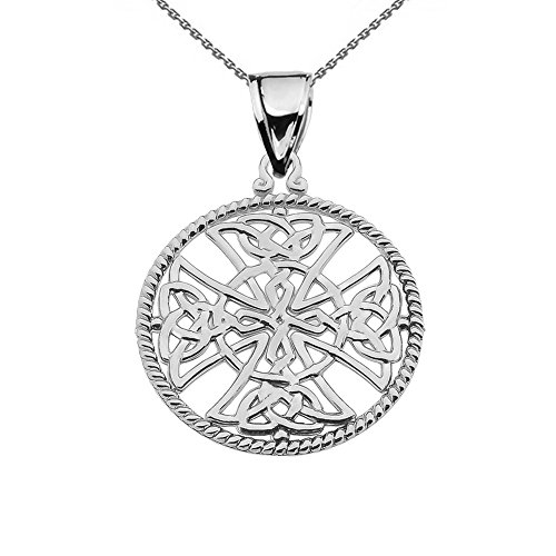 18k White Gold Celtic Knot (14k White Gold Trinity Knot Celtic Cross Round Rope Design Frame Pendant Necklace, 18
