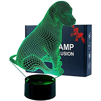Unitake 3D Animal Illusion Kids Night Lamp for Bedroom Girls Boys Dog
