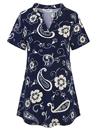 - Sixother Tunic Tops for Women Short Sleeve, Feminine Fashion Chic Style Cowl Neck Chiffon Work Blouse for Spring Special Pattern Ladies Breathable Vintage Plain Flowying Hem Tee Shirts Petite