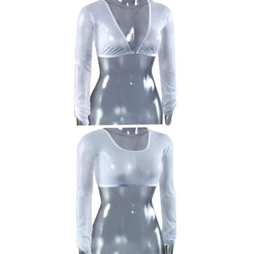 Internet_Mujer Desgaste en Ambos Lados Pliegue de Malla Camisa de Manga Larga,Cuello en v Color sólido Lencería Cosplay,Sexy Cofre Envuelto/corsé, ...