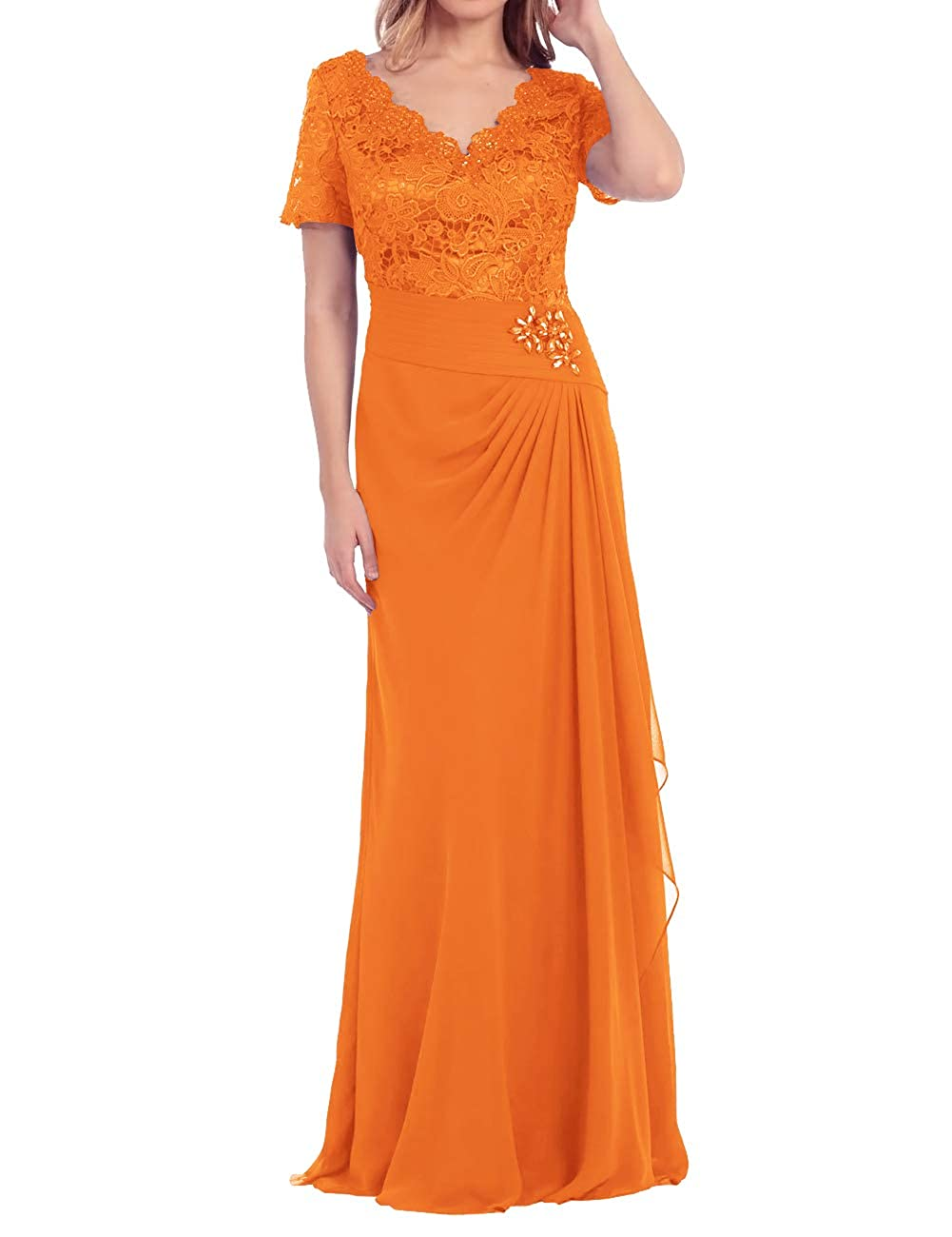 orange Mother of The Bride Dress Beaded Lace Prom Evening Gowns