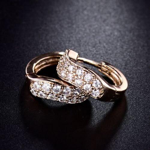 Delicate Jewelry White Sapphire Rhinestone Crystal Gold Hoop Earrings for Women CaandShop TM