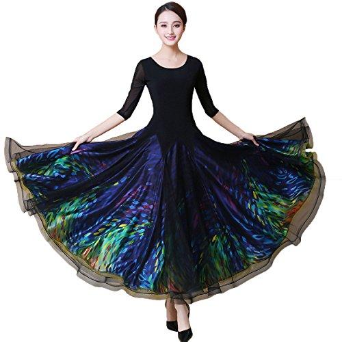 NAKOKOU Women Ballroom Dance Dress Standard Dance Flamenco Dresses Waltz Foxtrot Dance Dress Competition Elegant Dresses(M)