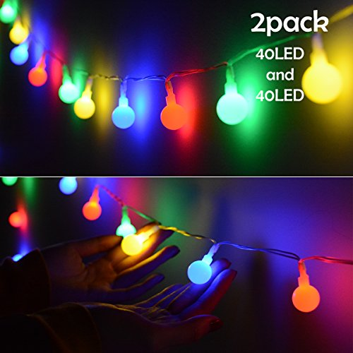 19' Outdoor Wall Lantern (Lalapao Global String Lights 2 Pack 19ft 40 LED Starry Lights Battery Powered Fairy Light Christmas Lighting Decor Waterproof for Xmas Tree Outdoor Indoor Partly Garden Wedding Decorative(Multi Color))