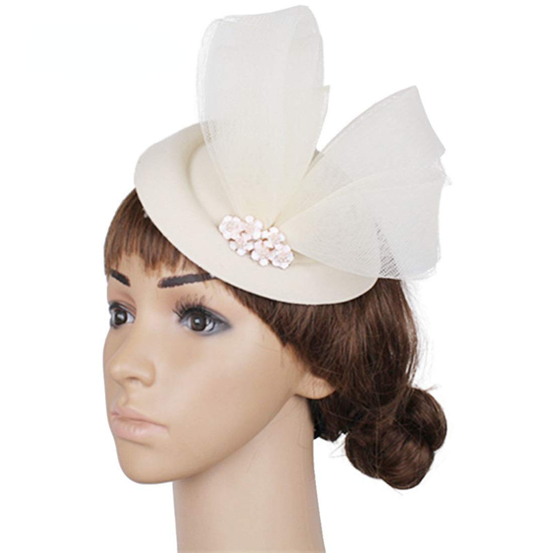 Ladies Mesh Hat Feather Fascinator For Prom Night Party Wedding