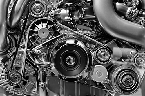 Car Engine in Monochrome Black and White Photo Art Print Mural Giant Poster 54x36 inch