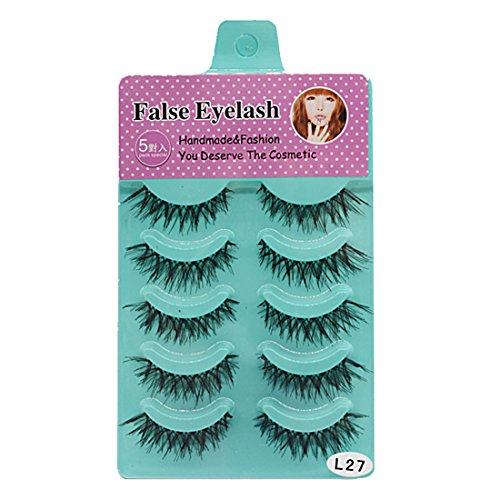 Soft Long Cosmetic False Eyelashes (Black) - 6