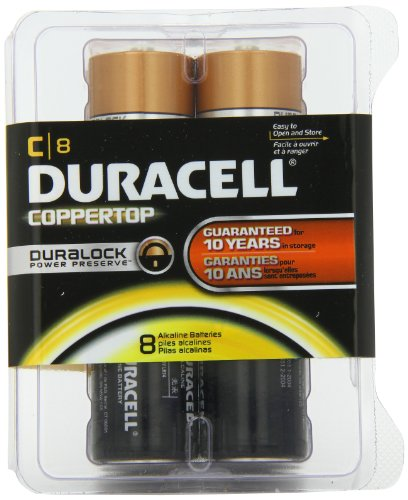 Duracell Coppertop Alkaline Batteries, MN1400 Duralock, Size C, 8-Count (Pack of 2)