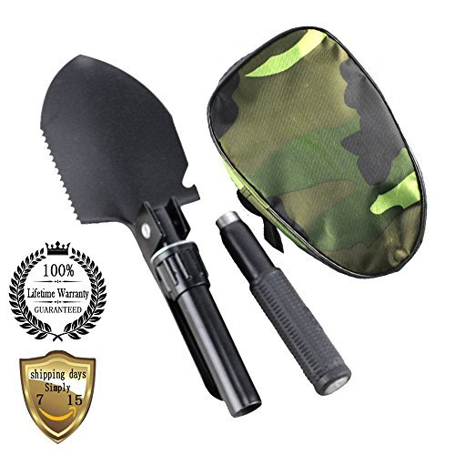 Meanhoo Military Folding Shovel Survival Spade Emergency Tool for Outdoor indoor Household Bivouac Garden Camping Picnic Hunting Survival by Meanhoo
