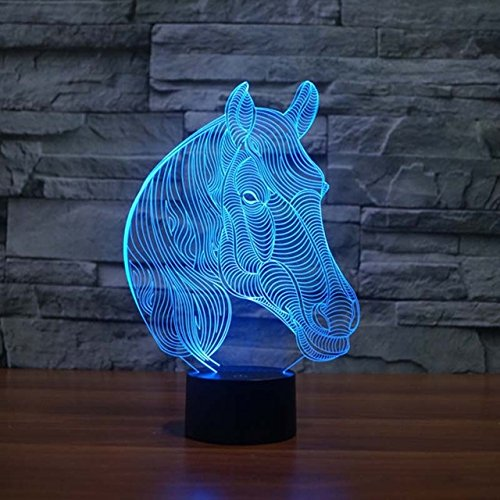 3D Animal Horse Head Night Light Touch Table Desk Optical Illusion Lamps 7 Color Changing Lights Home Decoration Xmas Birthday Gift