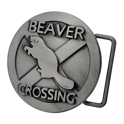 Buckle Rage Adult Mens Beaver Crossing Funny Humor Animal Belt Buckle Silver (Sexy Buckle)