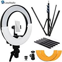 LimoStudio 14 inch Diameter LED Ring Light with Heavy Duty Tripod Stand, Secure Phone Mount, 1/4 inch Standard Hot Shoe Mount Adapter Holder for Professional at Home Beauty Shoots, AGG2405