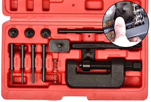 Motorcyle Chain Cutter/Rivet Tool - Chain Breaker and Riveting Set for Atv and Bike, 13 Piece Riveter Set with Carrying Case