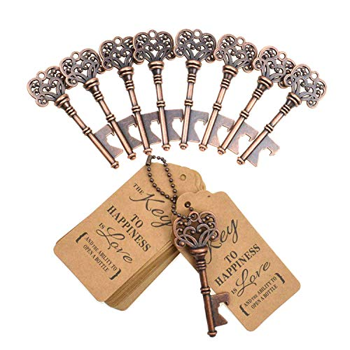 DerBlue 60 PCS Key Bottle Openers,Vintage Skeleton Key Bottle Opener, Wedding Favors Key Bottle Opener Rustic Decoration with Escort Tag Card]()