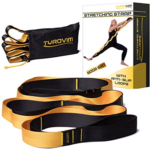 Cheap Stretching Strap with 12 Loops to Improve Flexibility + eBook, Video – Stretch Strap for Yoga, Physical Therapy, Dance, Fitness & Pilates – Stretch Out Band for Exercises, Legs, Back & Shoulder