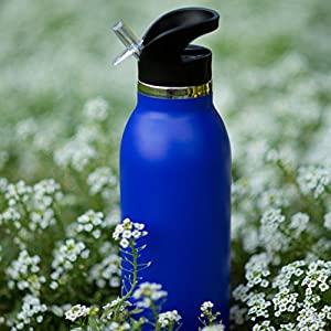 Bend-It Stainless Steel Sports Water Bottle (Dark Blue, 21 oz/620 ml)