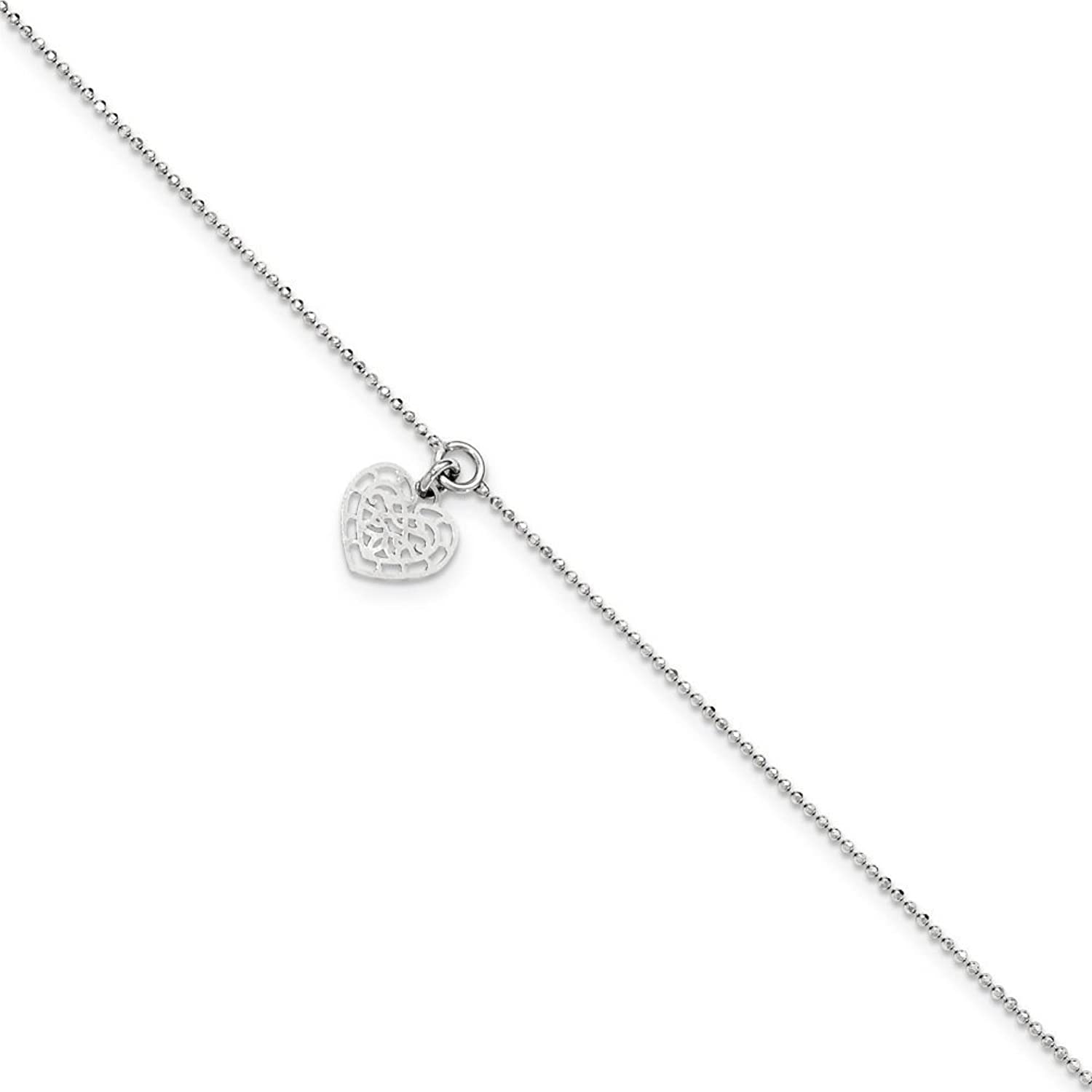 .925 Sterling Silver 1.00MM Heart Charm Anklet Bracelet, 10 Inches