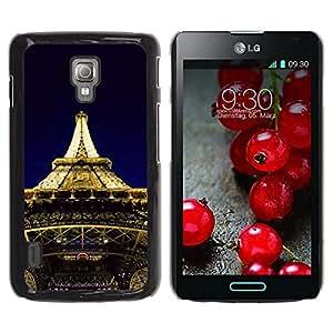 LECELL -- Funda protectora / Cubierta / Piel For LG Optimus L7 II P710 / L7X P714 -- Architecture Eiffel Tower Lights --