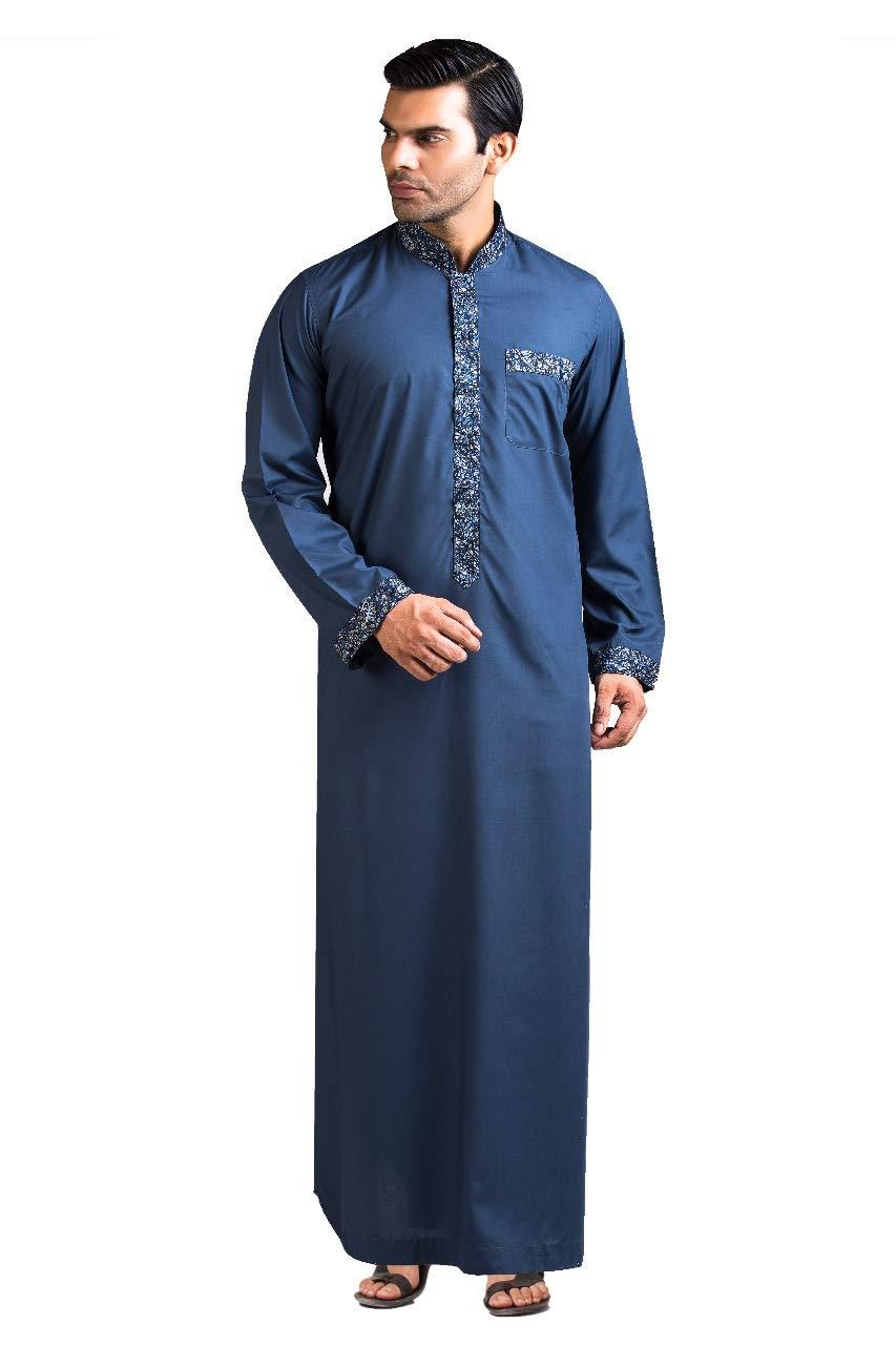 Raees Mens Thobe/Kaftan by Kamani-Islamic Clothing Jubba for Men, Kids, Boys-Light Cotton Formal Deshdasha-Modern Blue Collar Dress Thobes/Thawb-Prime Muslim Robe w/Long Sleeve-Arab Sheik Kaftans 56