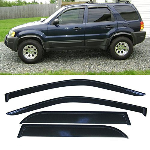 Alxiang 4pcs Dark Smoke Outside Mount Style Sun Rain Guard Vent Shade Window Visors Fit 01-07 Ford Escape