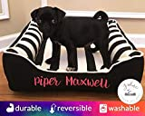 Black & White Stripe Dog Bed - Select Your Size - Washable Removable Cover - Free Embroidery